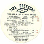 1968 - Tire Pressure Decal for Glove Box - Exact Reproduction F70 x 14 Tire