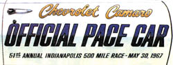 1967 & 1969 Camaro Pace Car Door Decal Set
