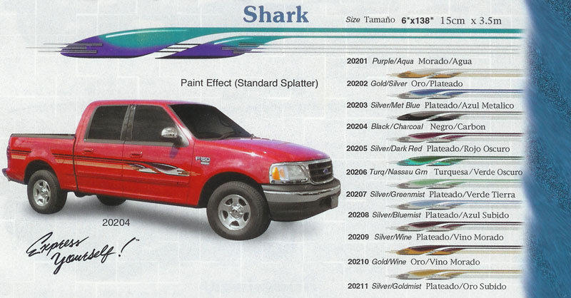 "Shark 6"" x 138"" Custom Vinyl Graphics"
