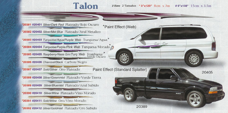 "Talon 3"" x 120"" 6"" 138"" Custom Vinyl Graphics"