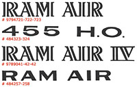 Pontiac Engine Designation Decals 455 H.O. Ram Air Ram Air IV