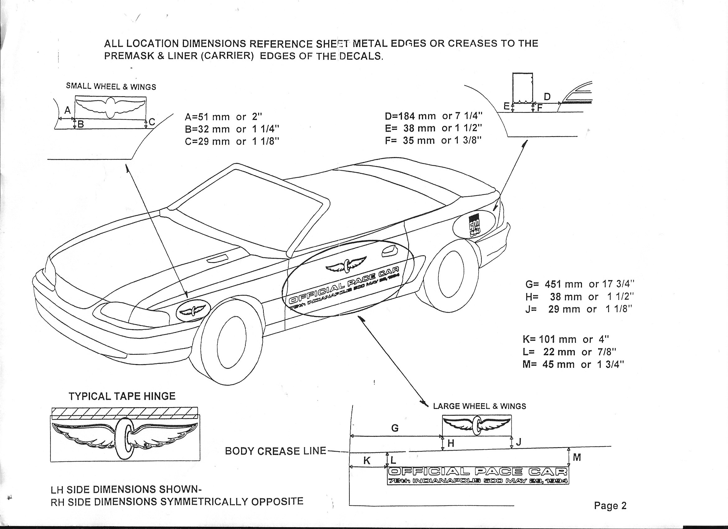 1994 Mustang Cobra Indianapolis 500 Pace Car Decal Kit Stencils Oldsmobile 3 8 Engine Diagram