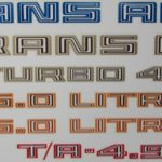 1981 Trans Am assorted decals in various colors.