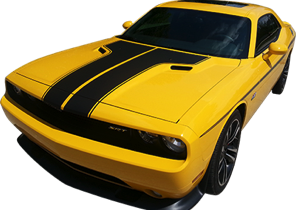 2011-14 Dodge Challenger Dual Hood Stripe with Accent Stripe Kit